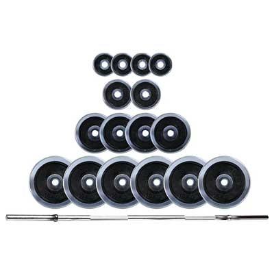 KOMPLET UTEŽI 100 kg KROM ROČKA 180 cm, 4X1,25 kg, 2X2,5 kg, 4x5 kg, 6 x10 kg