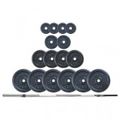 KOMPLET UTEŽI 100 kg KOVINSKE ROČKA 160 cm, 4X1,25 kg, 2X2,5 kg, 4x5 kg, 6 x10 kg